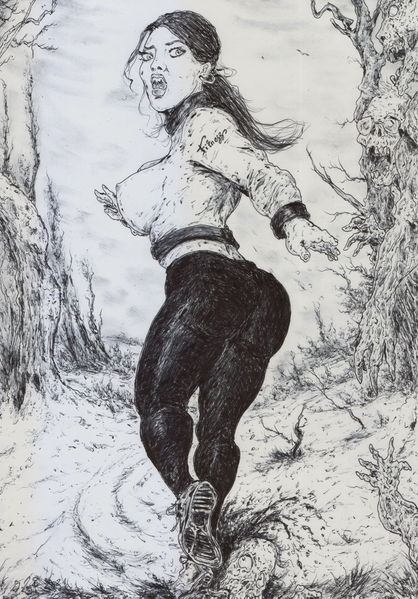 Frau, Sport, Winter, Comic, Zombie, Baum