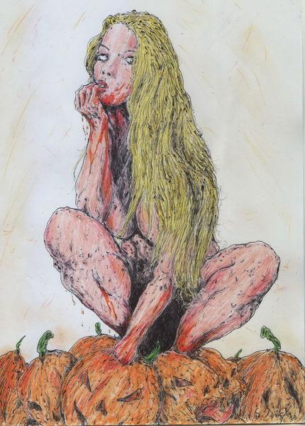 Kürbisse, Herbst, Makaber, Frau, Blond, Comic