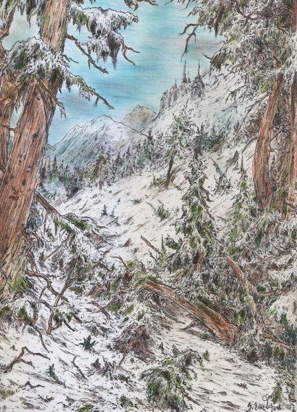 Alte meister, Baum, Schnee, Landschaft, Tanne, Fantasie