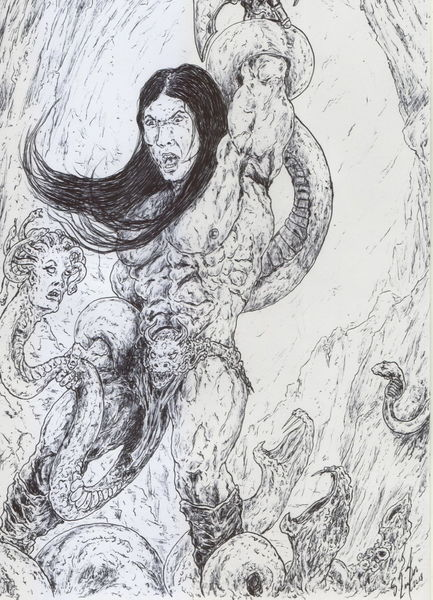 Schlängeln, Ken kelly, Comic, Barbar, Medusa, Held
