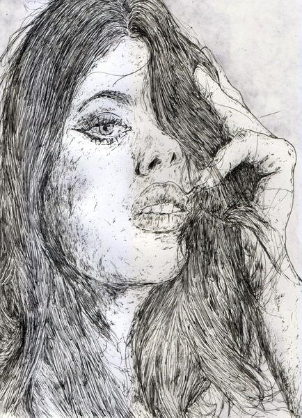 Long hair, Lange haare, Frau, Model, Sinnlichkeit, Zeichnungen