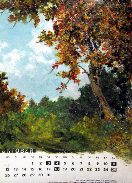 Herbst, Oktober, Landschaft, Laub, Baum, Zeichnungen
