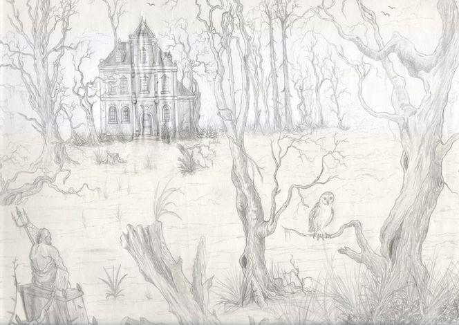 Villa, Gotik, Baum, Fantasie, Horror, Romtik