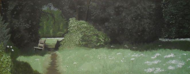 Bank, Blumen, Baum, Schatten, Gras, Wald