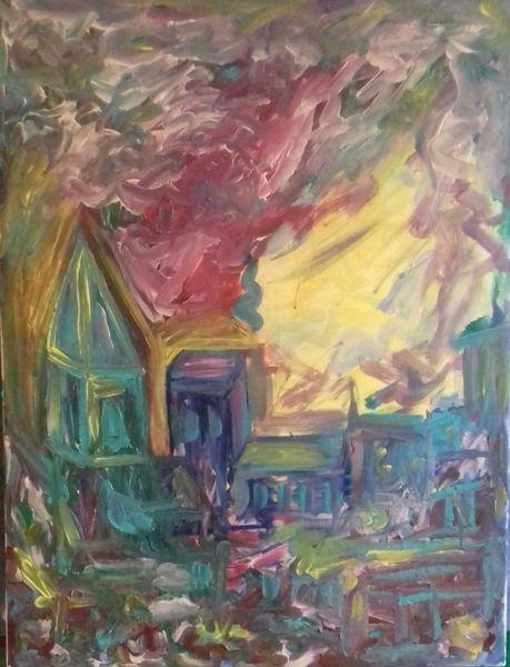 Dorf, Stadt, Abendstimmung, Malerei, Abend