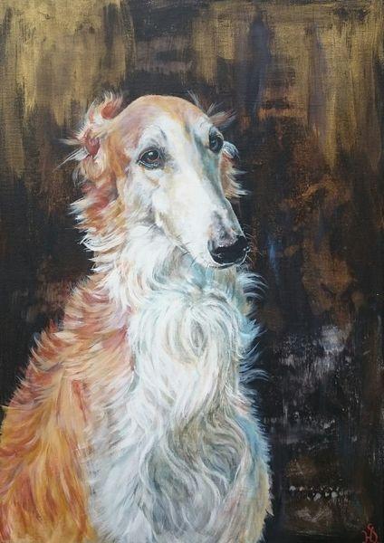 Windhund, Hund, Barsoi, Portrait, Malerei