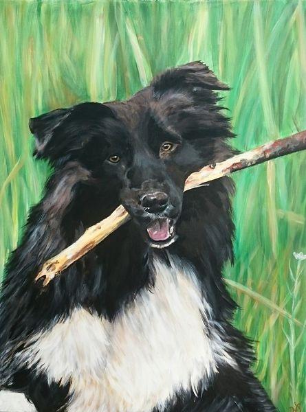 Stock, Hund, Wiese, Malerei