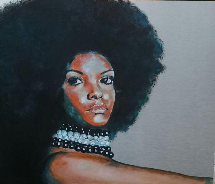 Perlenketten, Disko, Haare, Afrofrisur, Frau, Aluminium