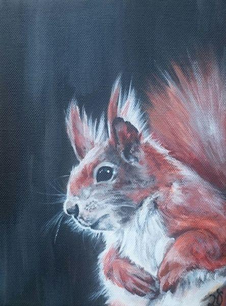 Waldtiere, Portrait, Eichhörnchen, Malerei