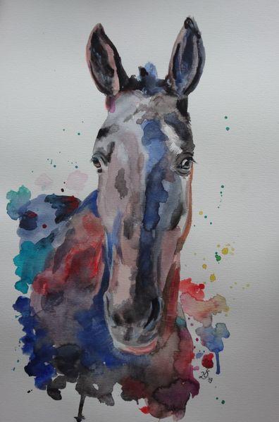 Bunt, Feolito, Pferde, Pony, Polopony, Aquarell