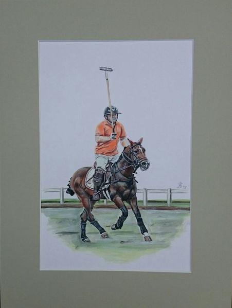 Mann, Polosport, Polo, Reiten, Pferde, Malerei