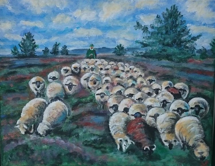 Schäfer, Herd, Heide, Schaf, Malerei