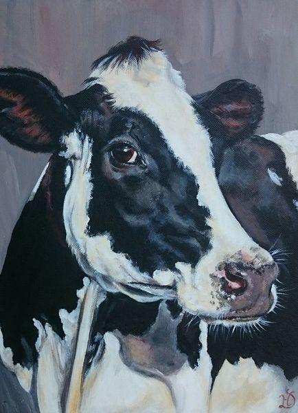Holsteiner, Kuh, Schwarz weiß, Malerei
