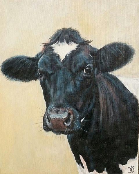 Milchkuh, Holsteiner, Kuh, Malerei