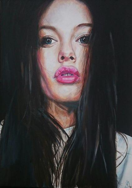 Augen, Lippen, Frau, Portrait, Malerei