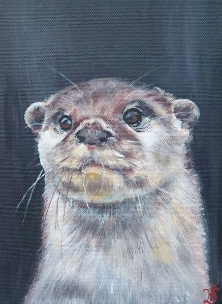 Waldtier, Portrait, Otter, Fischotter, Malerei