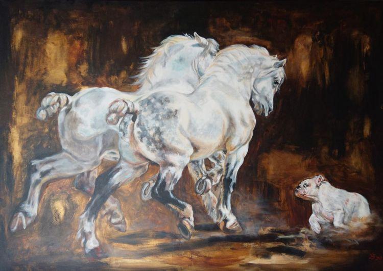 Pferde, Bulldogge, Hund, Percheron, Malerei, Maya