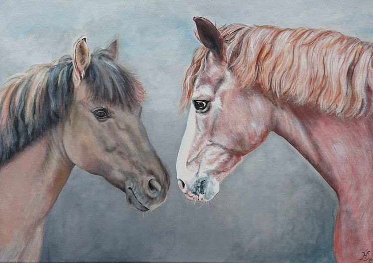 Portrait, Pferde, Pony, Malerei