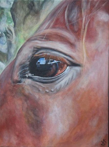 Augen, Pferde, Pferdeauge, Malerei
