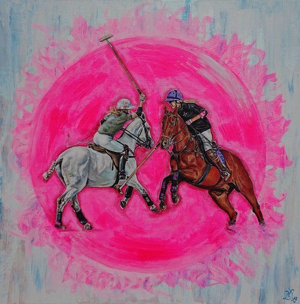 Pink, Polo, Pferde, Polosport, Dame, Malerei