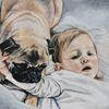 Kind, Baby, Mops, Hund