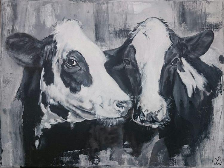 Schwarz, Weiß, Kuh, Milchkuh, Holsteiner, Malerei