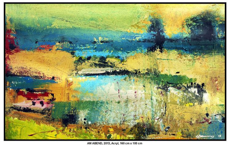 Baum, Acrylmalerei, See, Schatten, Gehöft, Wolken