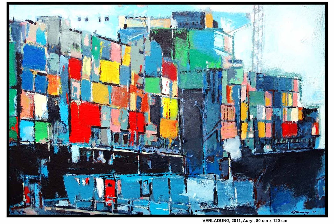 Bild container dock elbe fluss von christian damerius for Moderne landschaftsbilder