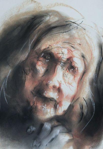 Pastellmalerei, Portrait, Frau, Zeichnungen, Gebet