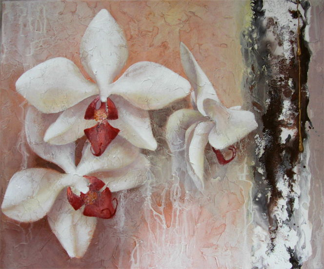Blumen, Acrylmalerei, Orchidee, Malerei, Pflanzen
