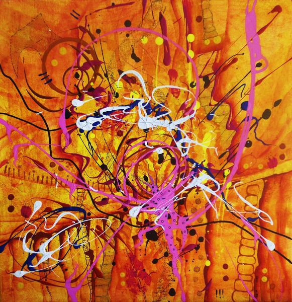 Leuchtend, Acrylmalerei, Grell, Schwarz weiß, Modern, Orange