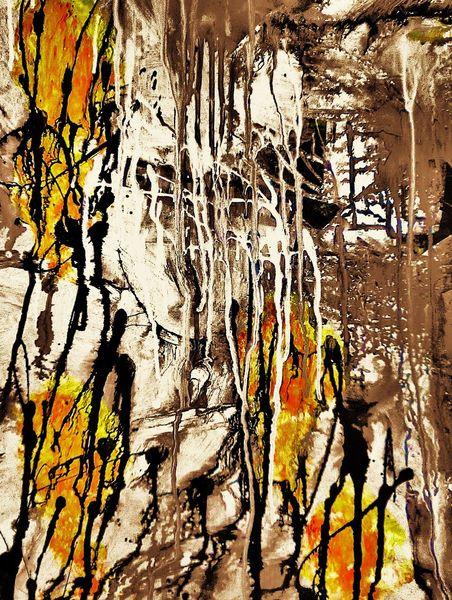 Struktur, Gelb, Acrylmalerei, Braun, Schwarz, Abstrakt
