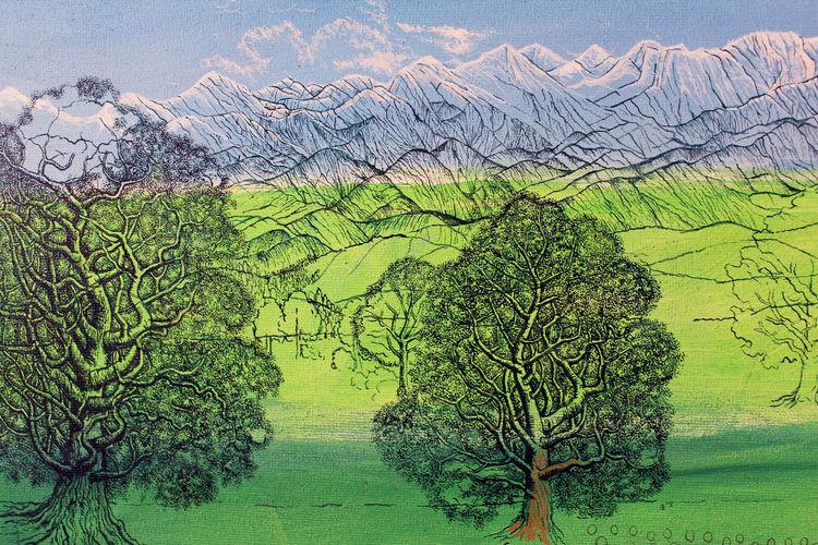 Alpen, Hügel, Baum, Voralpen, Landschaft, Sommer