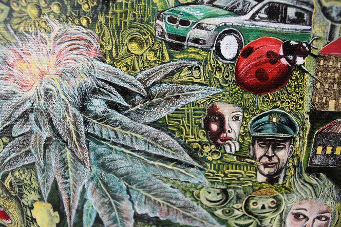 Kiffen, Polizei, Cannabis, Paranoia, Malerei, Fragment
