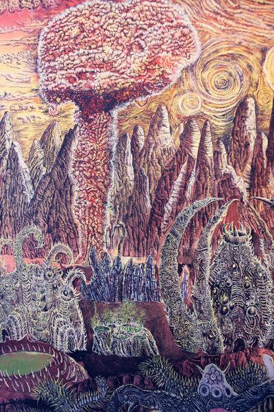 Explosion, Das ende, Die atombombe, Pilzwolke, Ölmalerei, Zerstörung