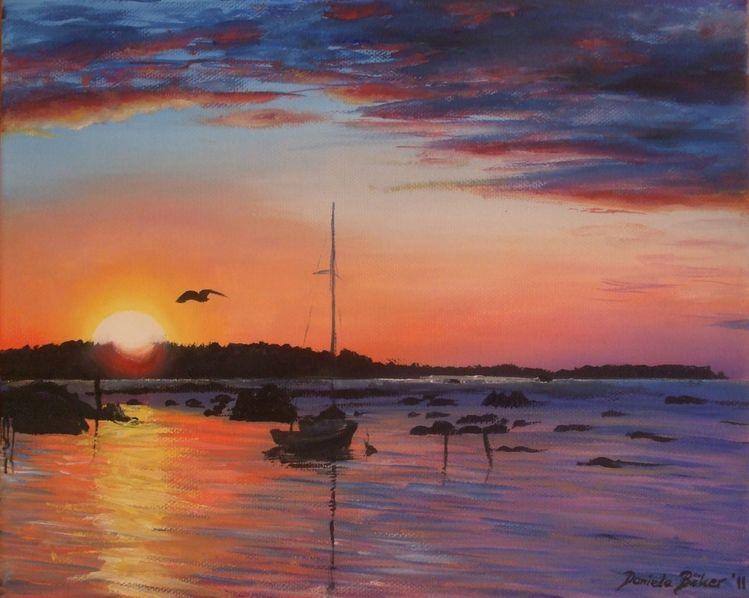 Himmel, Boot, Meer, Wolken, Sonnenuntergang, See