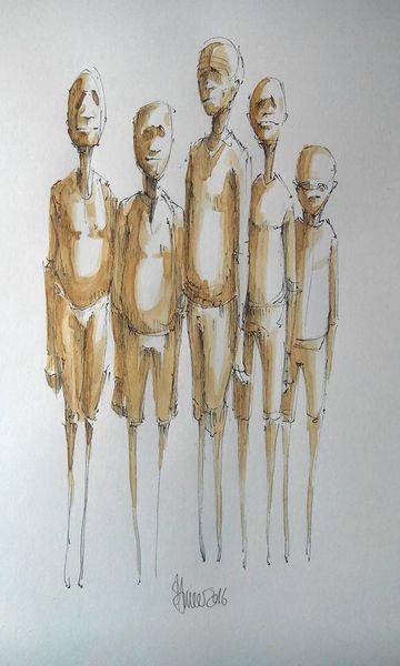 Zeichnung, Kaffee, Aquarellmalerei, Freunde, Figural, Zeichnungen