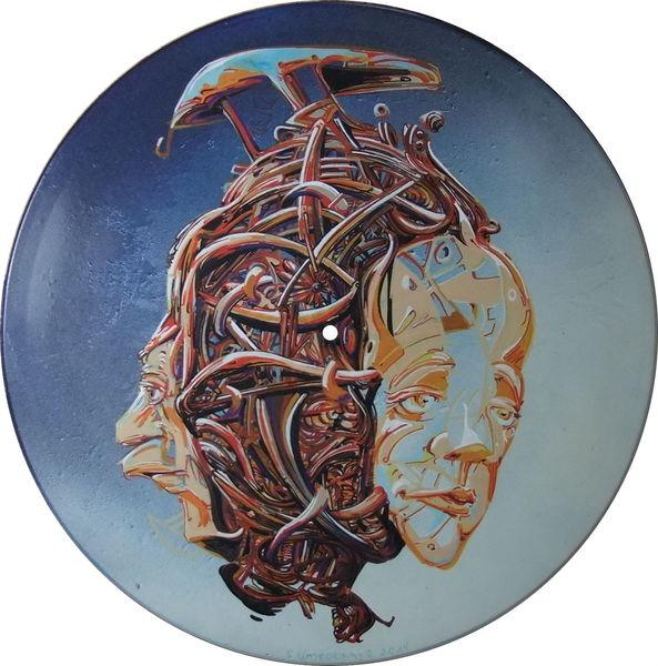 Vinyl, Figural, Acrylmalerei, Zeichnung, Gesicht, Illustration