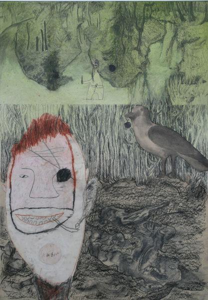 Vogel, Pfütze, Hase, Räuber, Mischtechnik