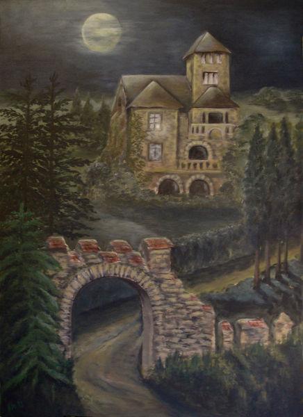 Villa, Burgvilla, Romantik, Landschaft, Burg, Acrylmalerei