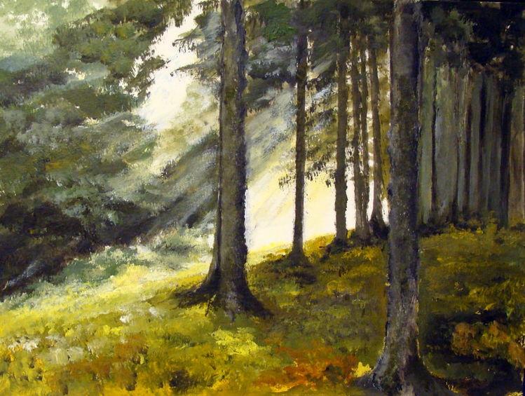 Natur, Eifel, Herbst, Wald, Acrylmalerei, Malerei