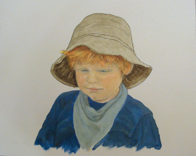 Acrylmalerei, Kind, Junge, Portrait, Malerei, Menschen