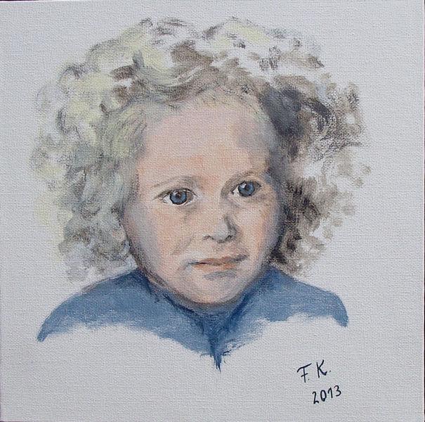 Acrylmalerei, Kind, Mädchen, Portrait, Malerei