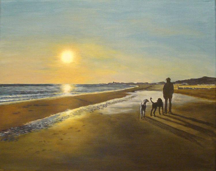 Strand, Zoutelande, Meer, Sonnenuntergang, Acrylmalerei, Malerei