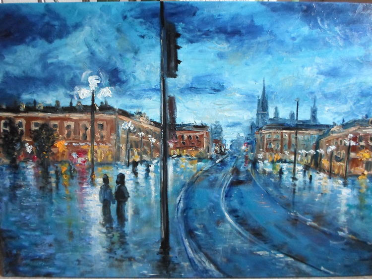 Nacht, Abend, Menschen, Leben, Stadt, Malerei