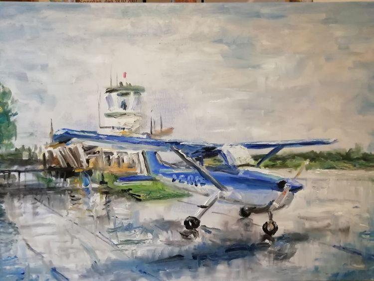 Cessna, Flughafen, Regen, Flugzeug, Egelsbach, Malerei