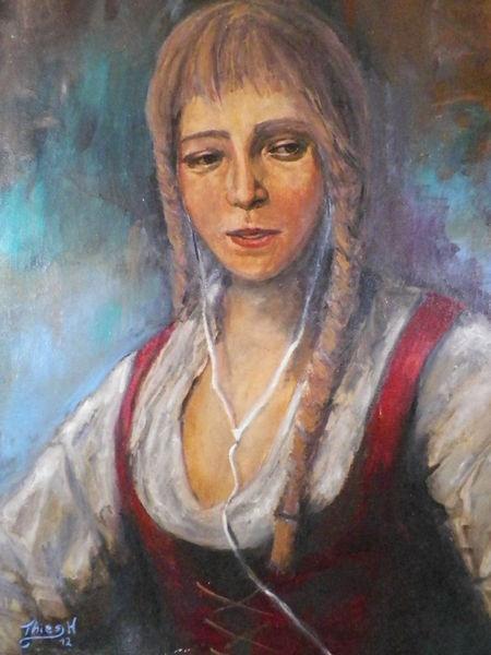 Mp3, Malerei, Menschen, Musik, Frau