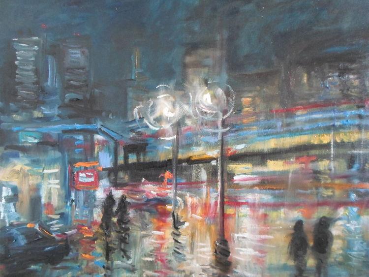 Nacht, Menschen, Leben, Stadt, Malerei, Nachtleben