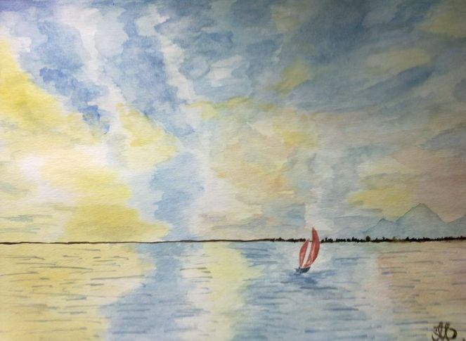 Aquarellmalerei, Meer, Aquarell, Himmel