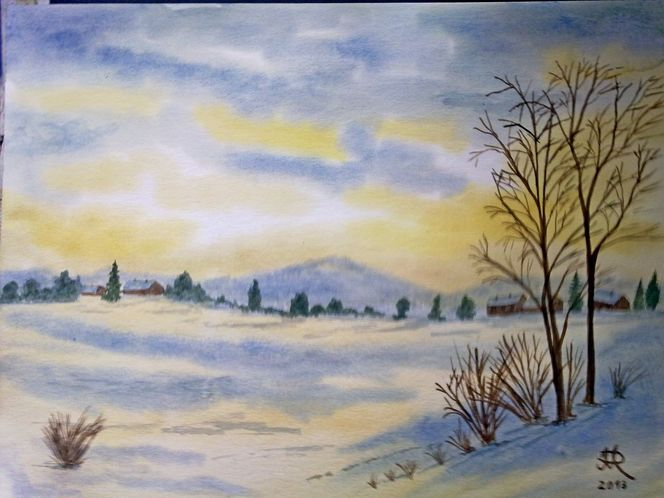 Aquarell, Winterlandschaft